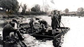 River people working on the river walls after the Shannon scheme