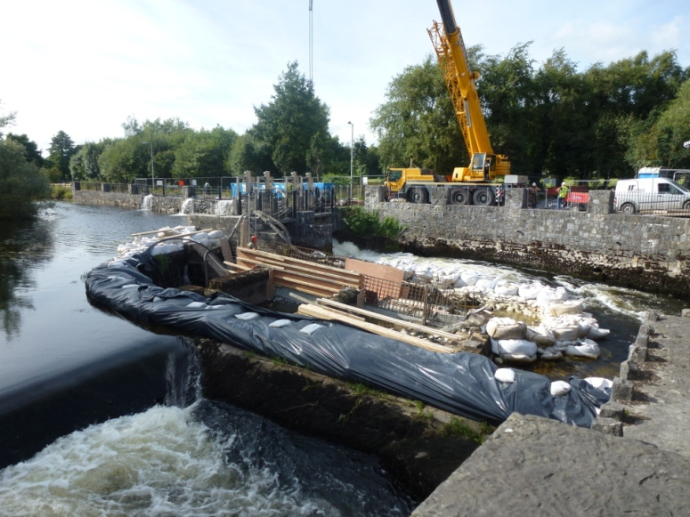 Fish pass under construction in Ennis during August 2013
