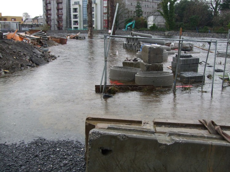 Major instream works apparent on the flooded River Fergus during the construction of the upper scheme